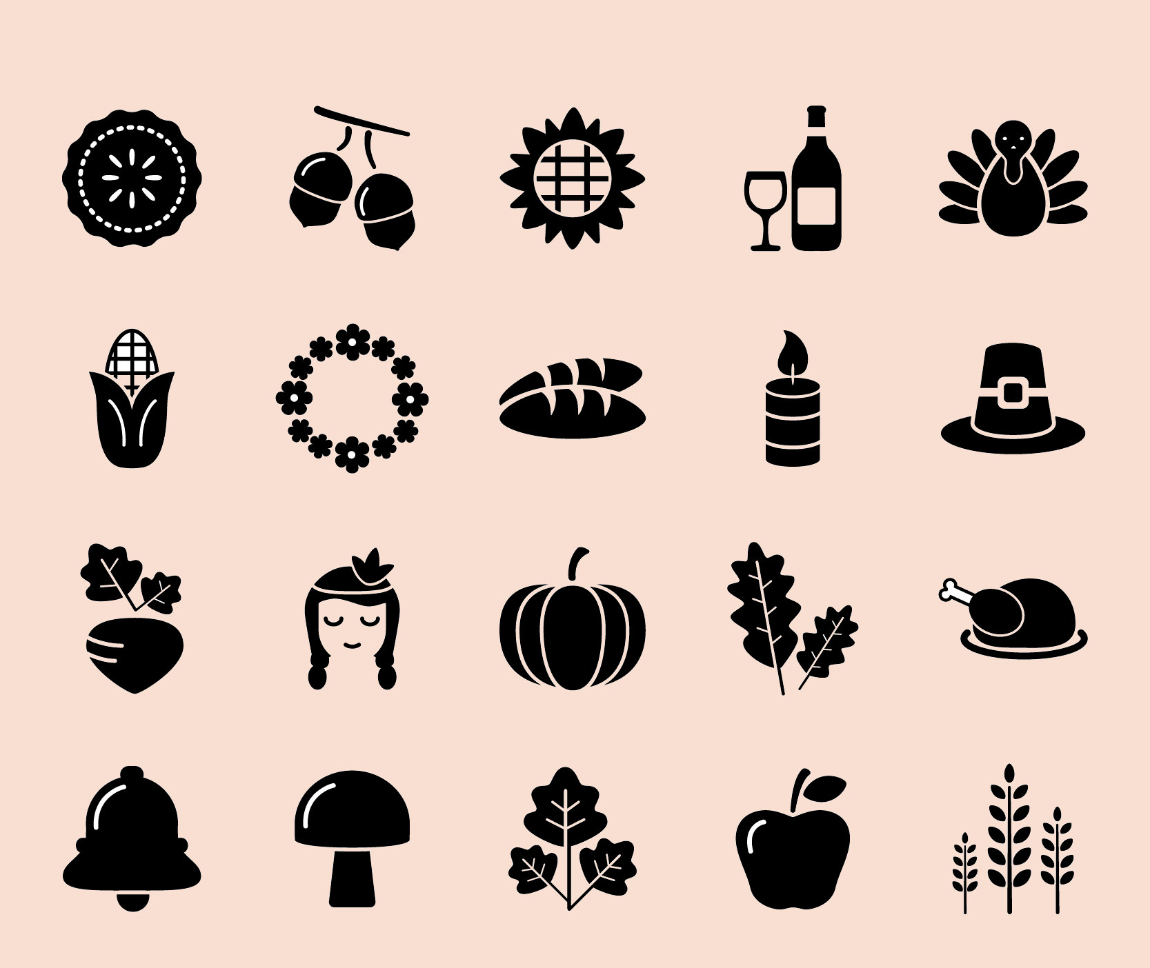 Thanksgiving and autumn icon pack Free Vector