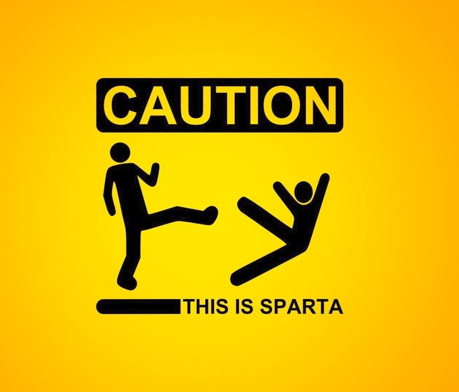 This is Sparta Funny Caution Wallpaper