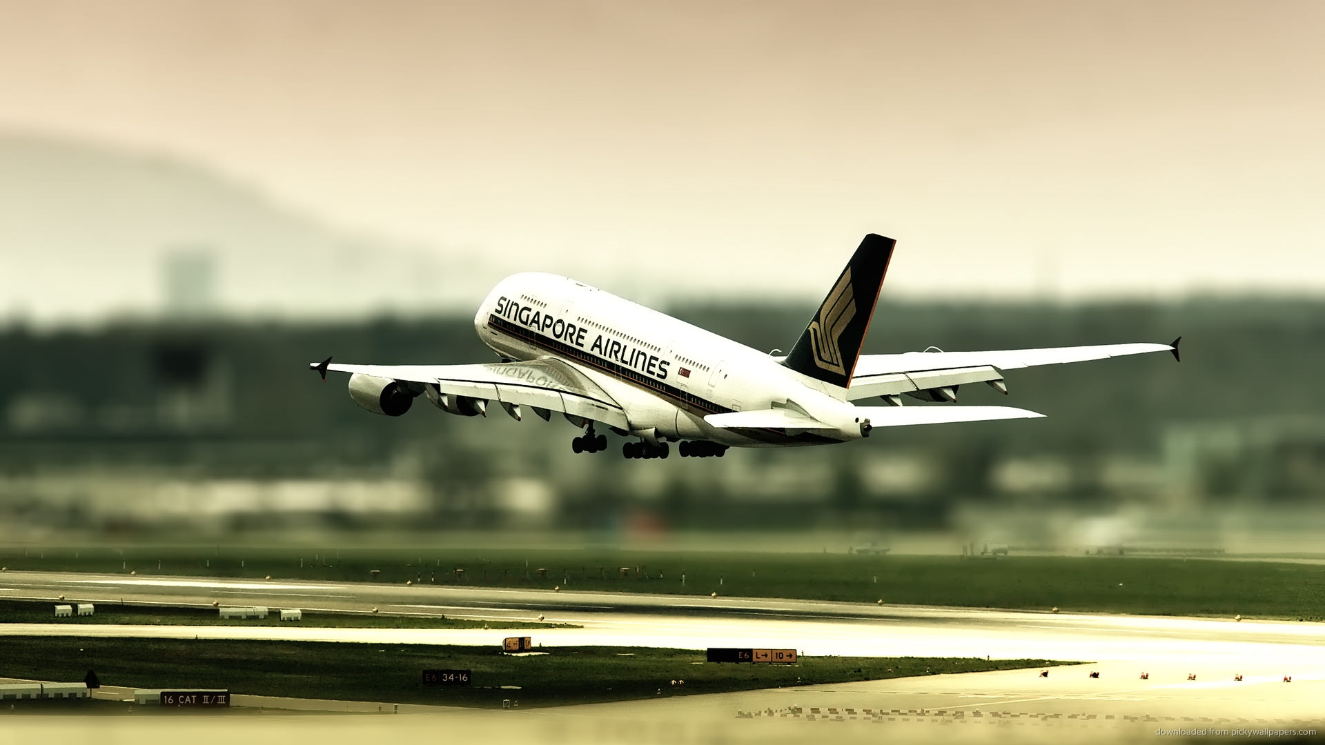 Tilt Shift Singapore Airlines Wallpaper