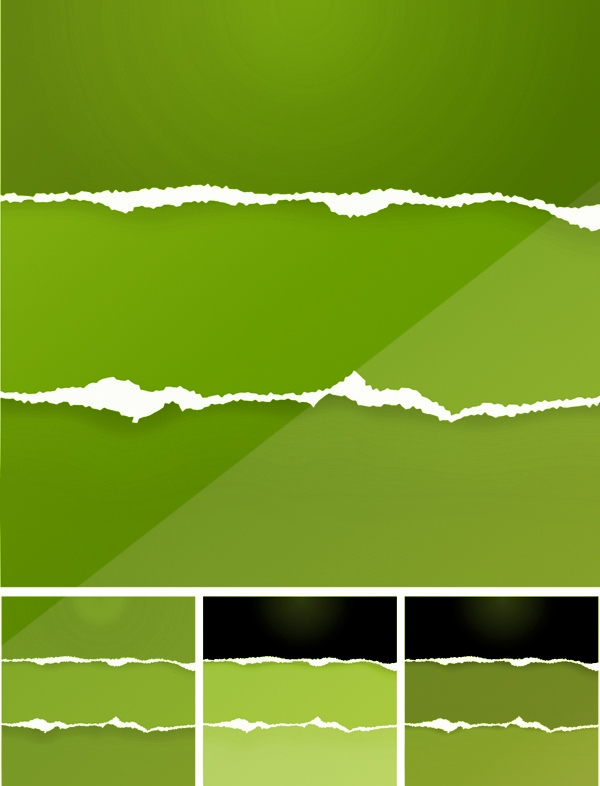 torn green paper brush set