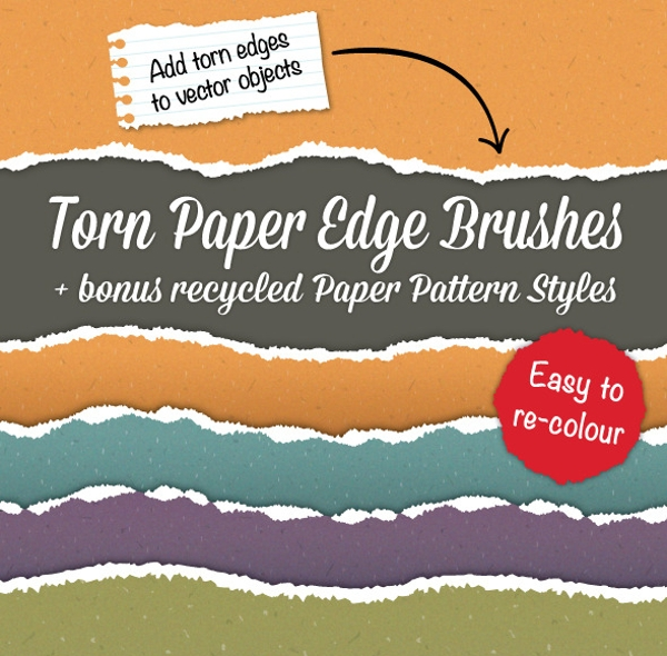 torn paper edge brushes