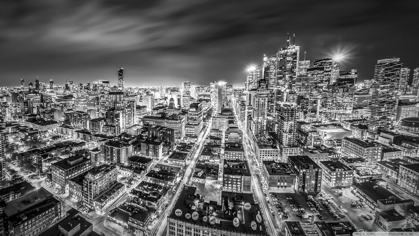 Toronto Night Black & White Lights Wallpaper