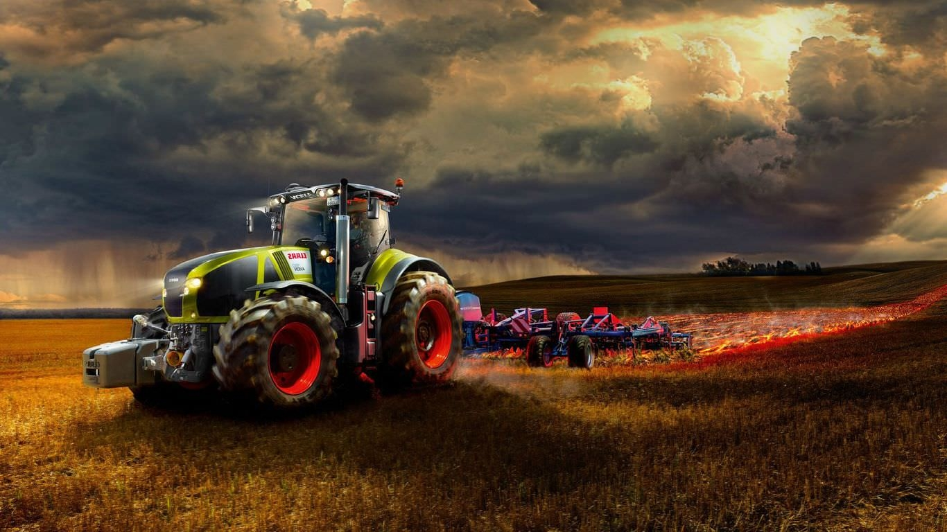 Tractor Working on the Fire Field Wallpaper