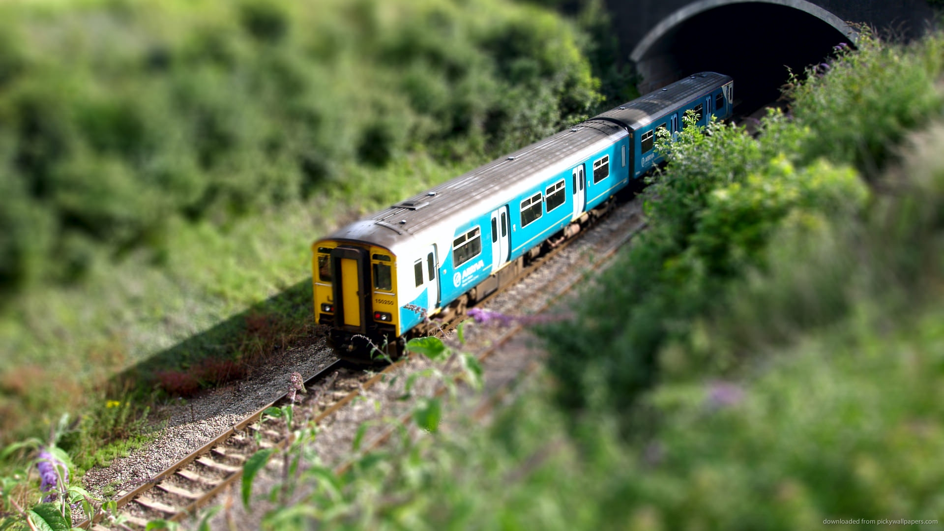 Train Goes into Tunnel Tilt Shift Wallpaper
