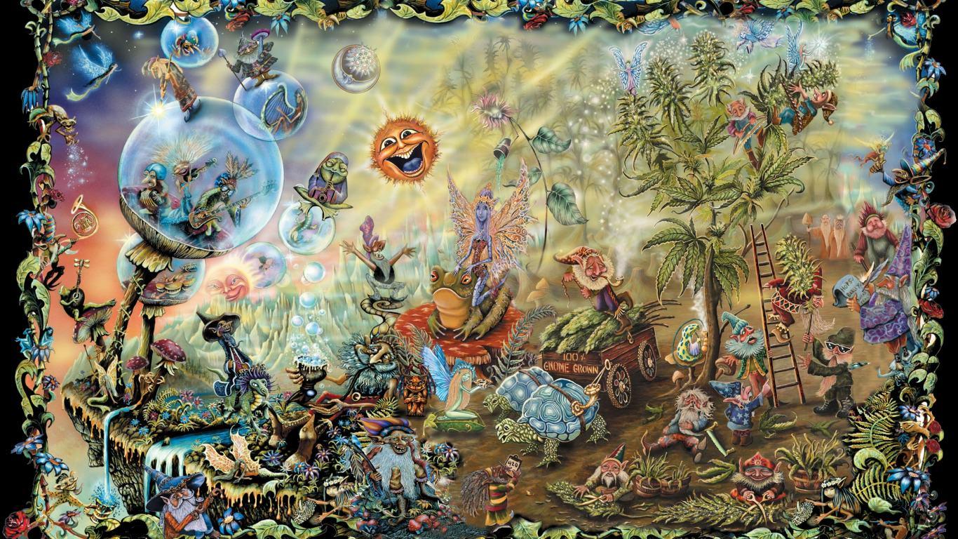Trippy Gnomes Wallpaper