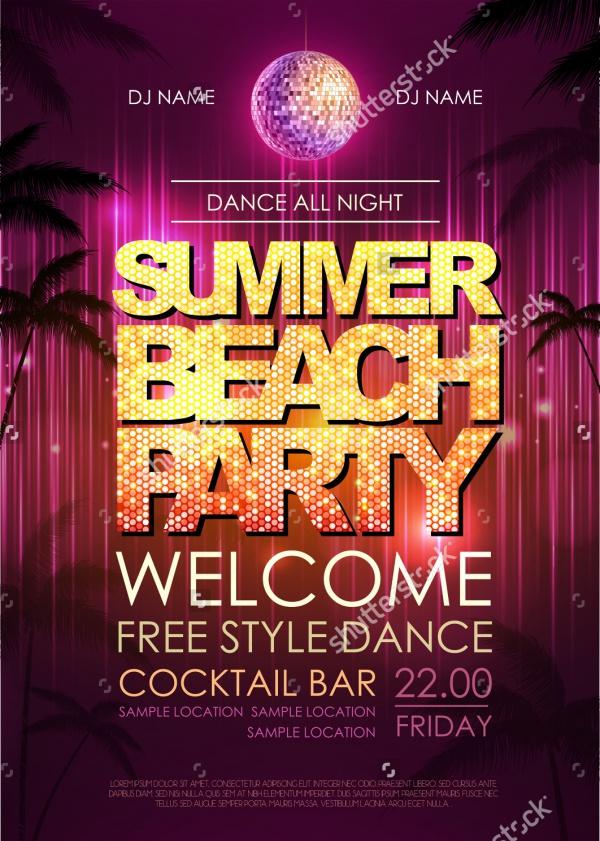 Typography Disco Beach Party Invitation