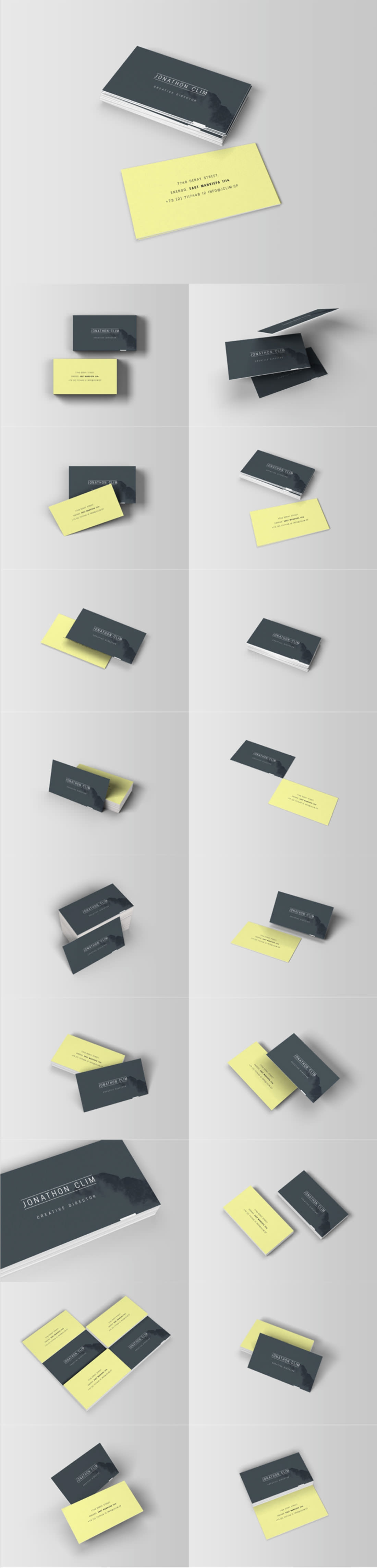 Ultimate 8 Business Card Mockups in Different Angles