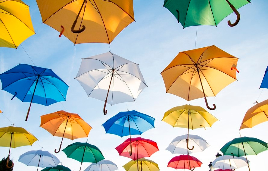 Umbrellas Flying High Quality Background