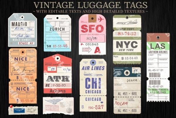 Vector Customizable Luggage Tags