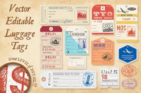 Vector Luggage Tags Illustrations Design