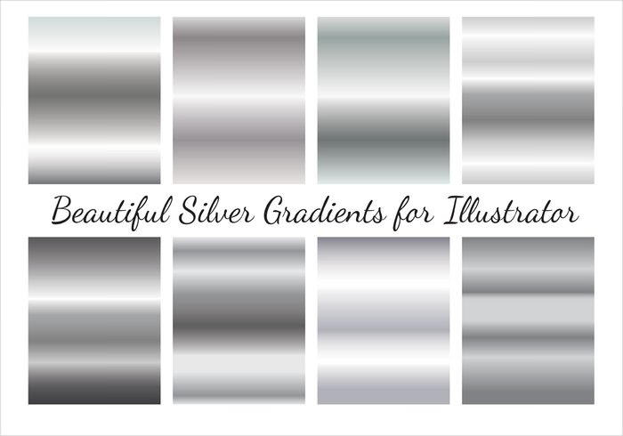 Vector Set of Silver Gradient Textures