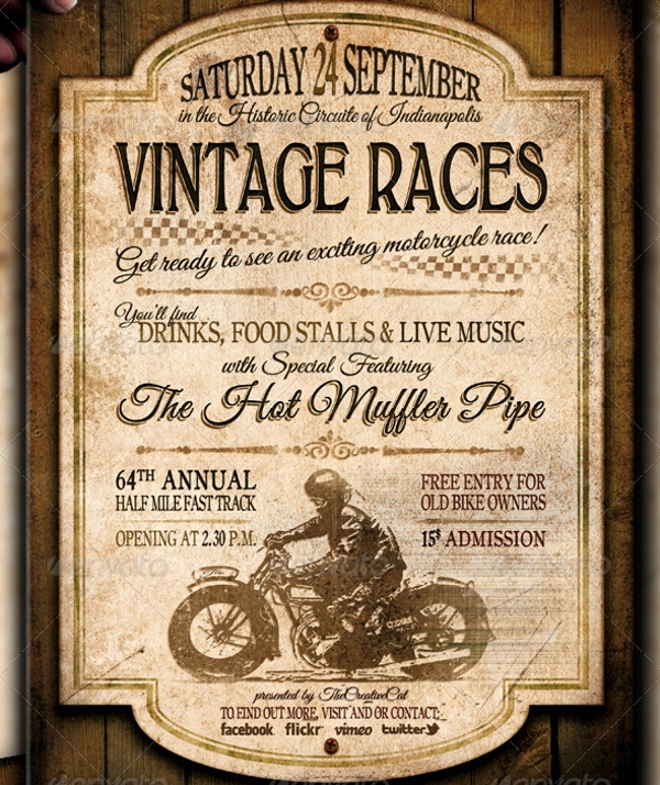 Vintage Motorcycle Racing Flyer