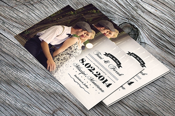 Vintage Post Card Invitation PSD