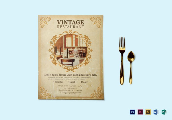 Vintage Restaurant Flyer in PSD