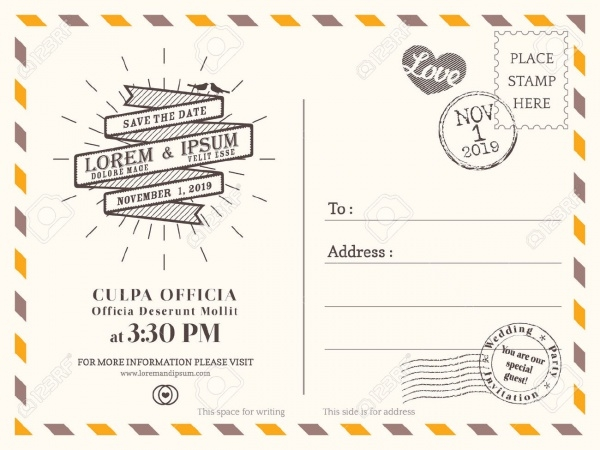 vintage save the date postcard invitation