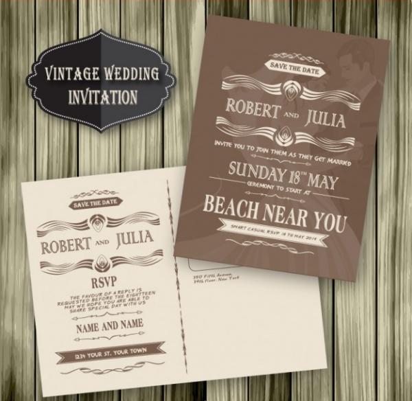 Vintage Wedding Beach Invitation Wood Template