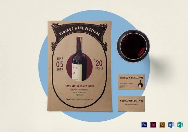 vintage wine festival flyer template in psd