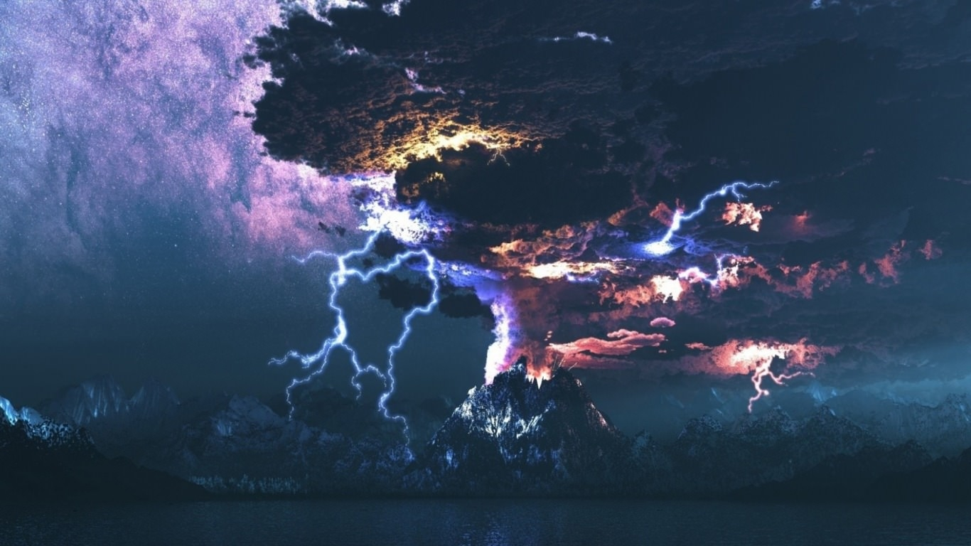 Volcanic Eruption With Lightning Wallpaper