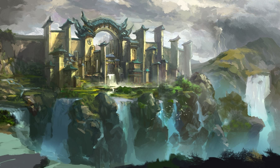 Watercity Painting Wallpaper