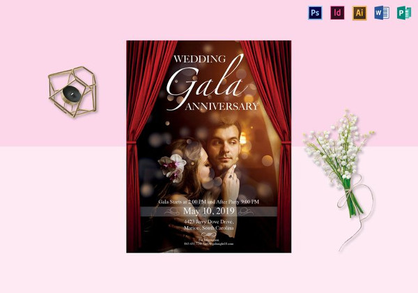 Wedding Gala Anniversary Flyer Template