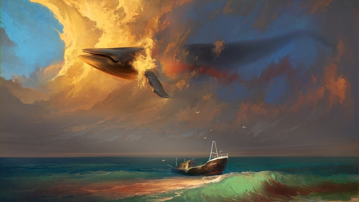 Whale Flying in Sky Artistic Wallpaper