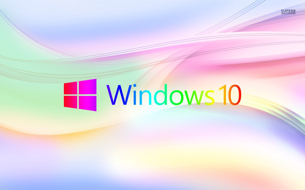 Windows 10 On Pastel Waves Wallpaper