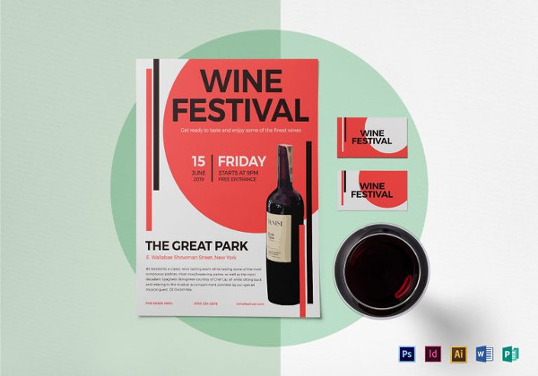 Wine Festival Flyer Template in PSD
