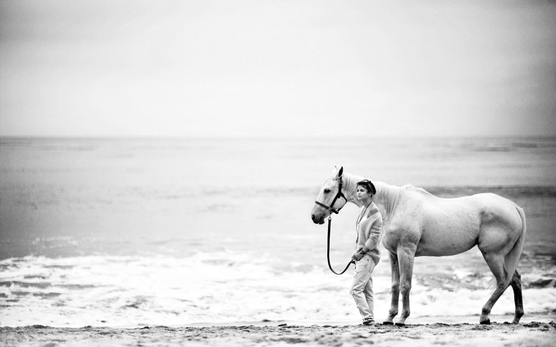 Woman with Horse Black & White Wallpaper