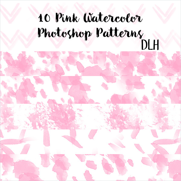 10 Pink Watercolor Photoshop Patterns