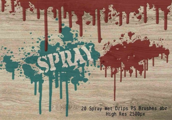 20 Spray Wet Drips PS Brushes