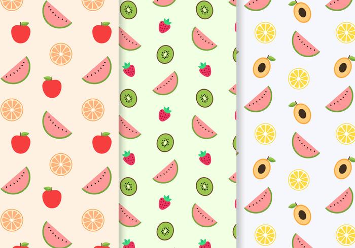 3 Free Seamless Fruit Pattern Vector