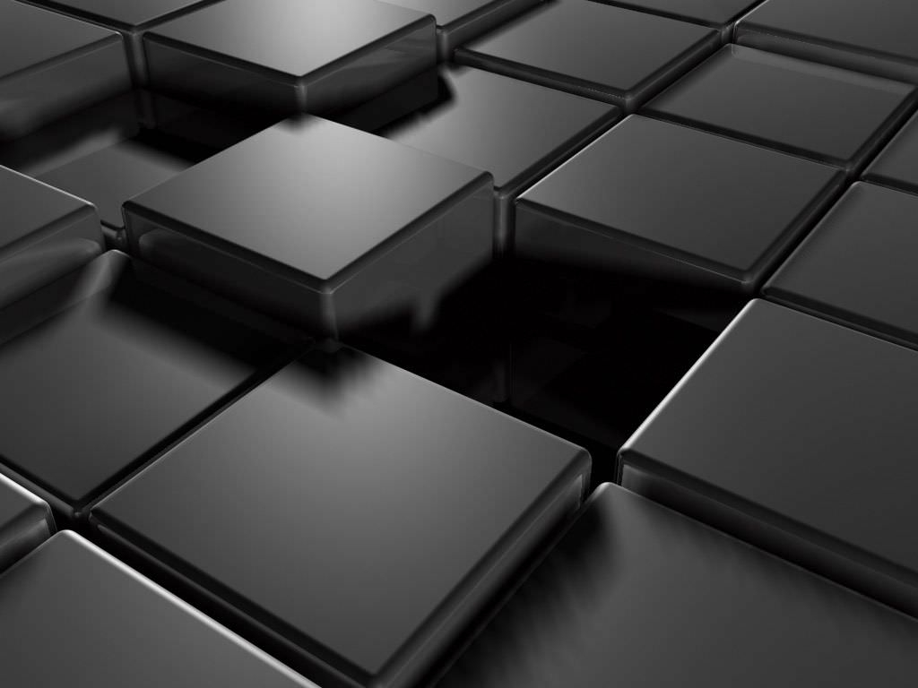 3D Black Abstract Cubes Wallpaper