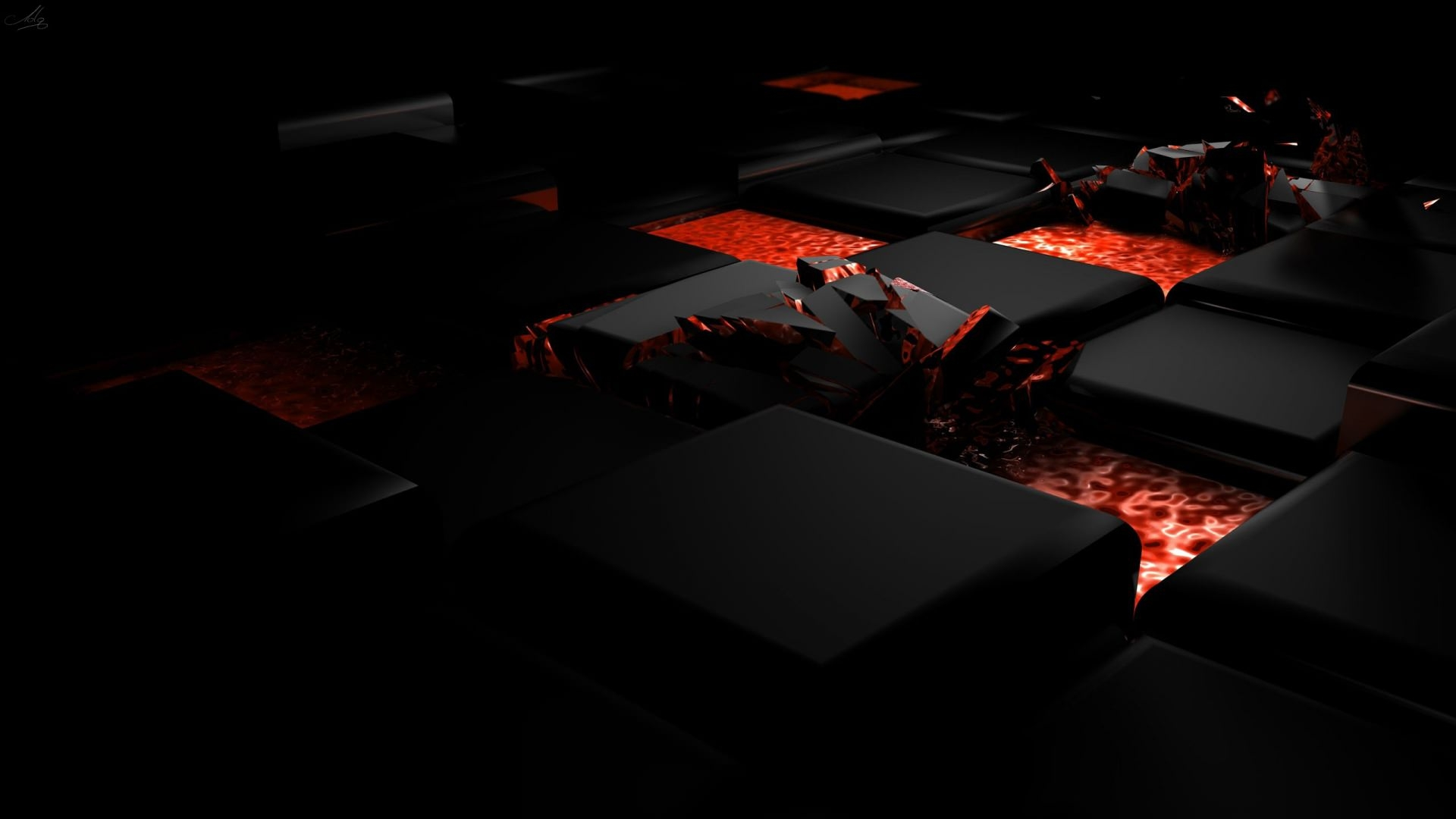 3D Cube Fire Background