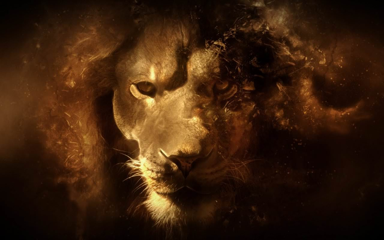 3D Digital Lion Wallpaper