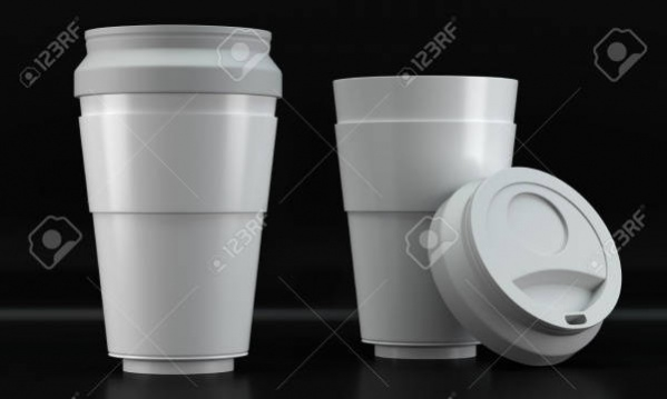 3D Render of a White Coffee Cup Mockups