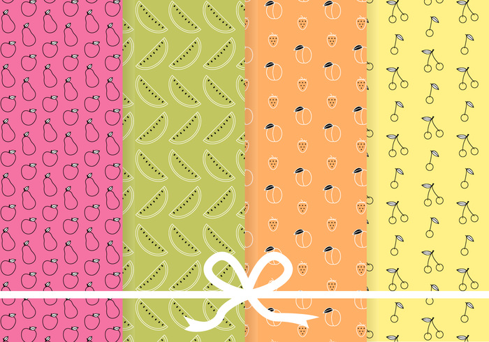 4 Free Fruit Pattern Vector