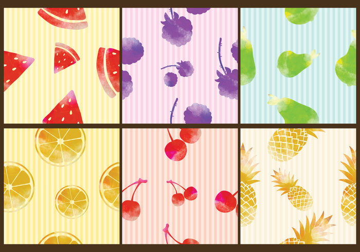 6 Watercolor Fruit Patterns