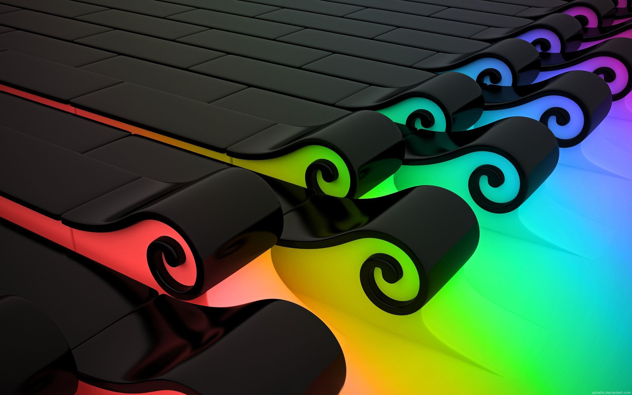 Abstract 3D Colorful Waves Wallpaper