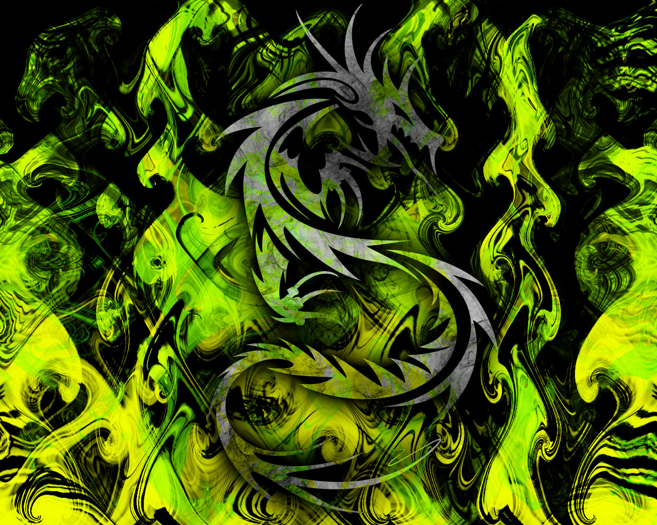 Abstract Green Dragon Wallpaper