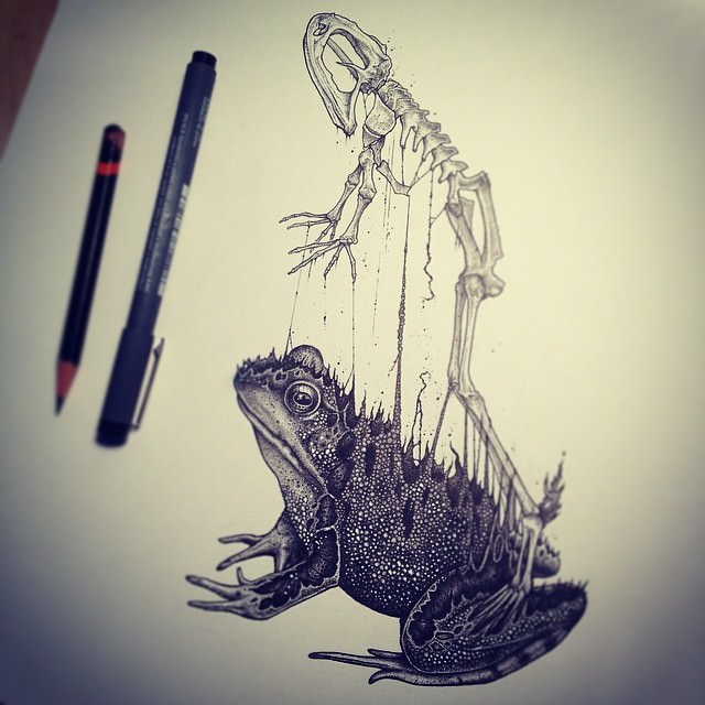 Animals Behind Skull Drawing