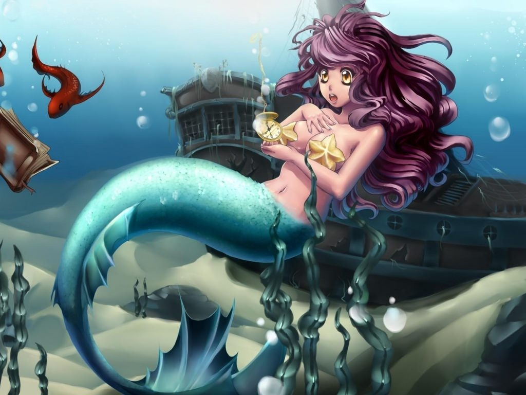 Anime Underwater Mermaid Ship Wallpaper
