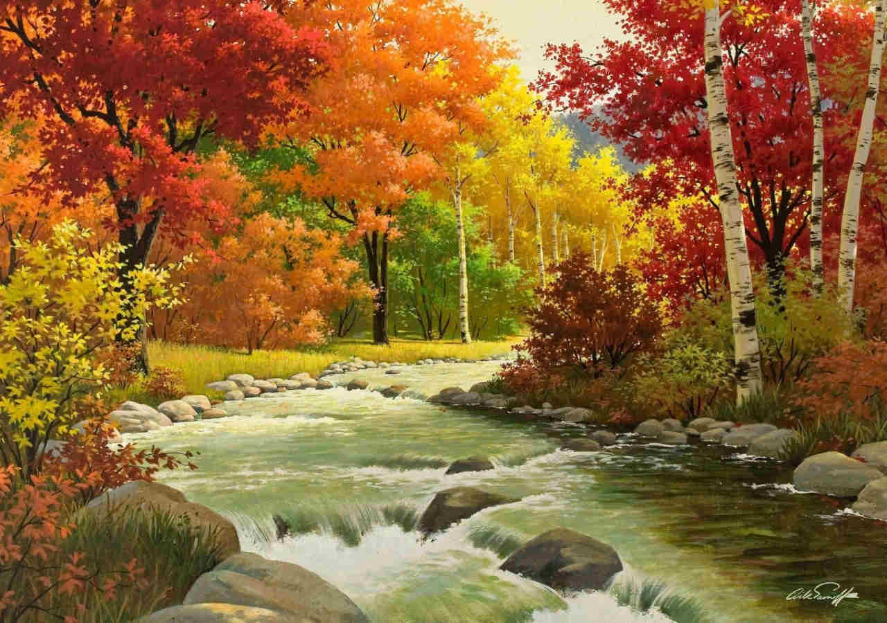 Autumn Landscape Painting Background