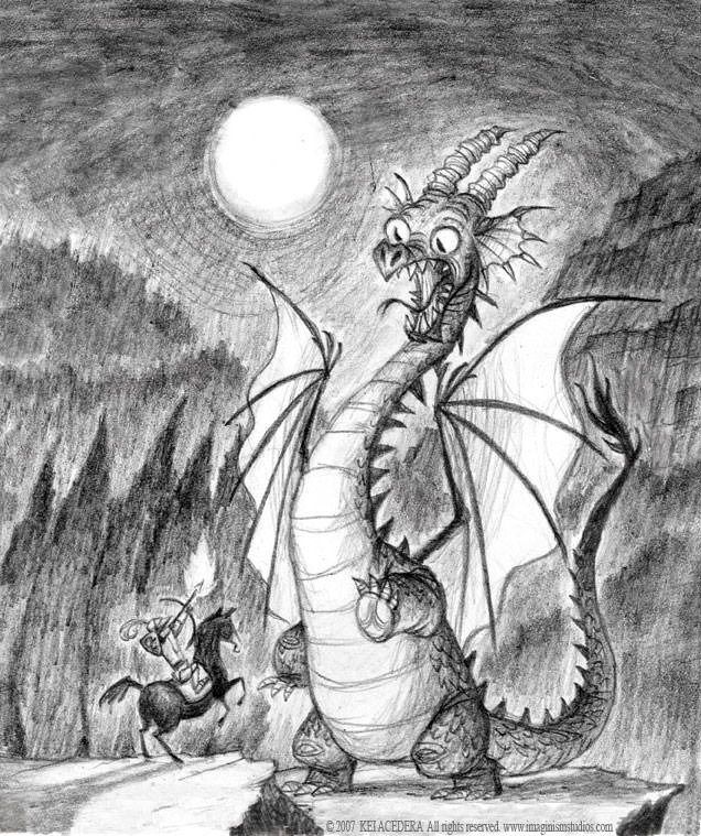 Awesome Dragon Pencil Drawing
