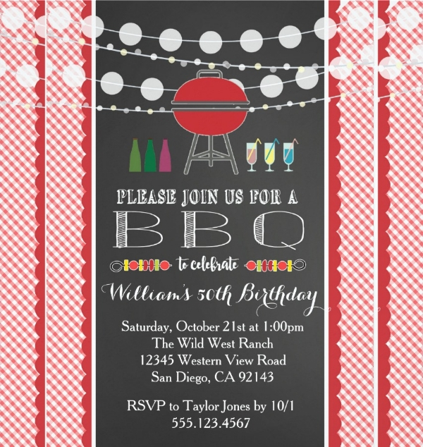BBQ Party Wedding Birthday Retirement Invitation