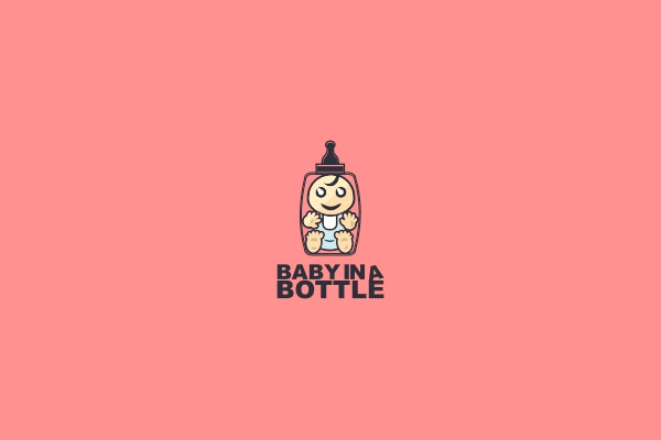 Baby in a Bottle Logo Design