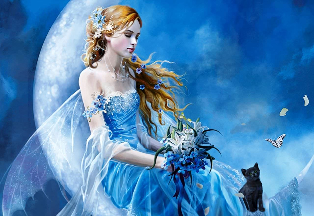 Beautiful Fairy with Cat Wallpaper