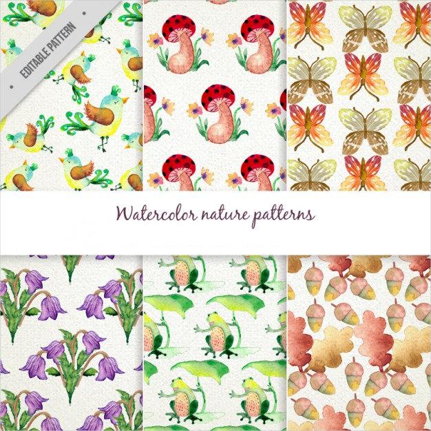 Beautiful Watercolor Nature Pattern