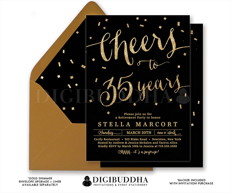 Black & Gold Retirement Party Invitation