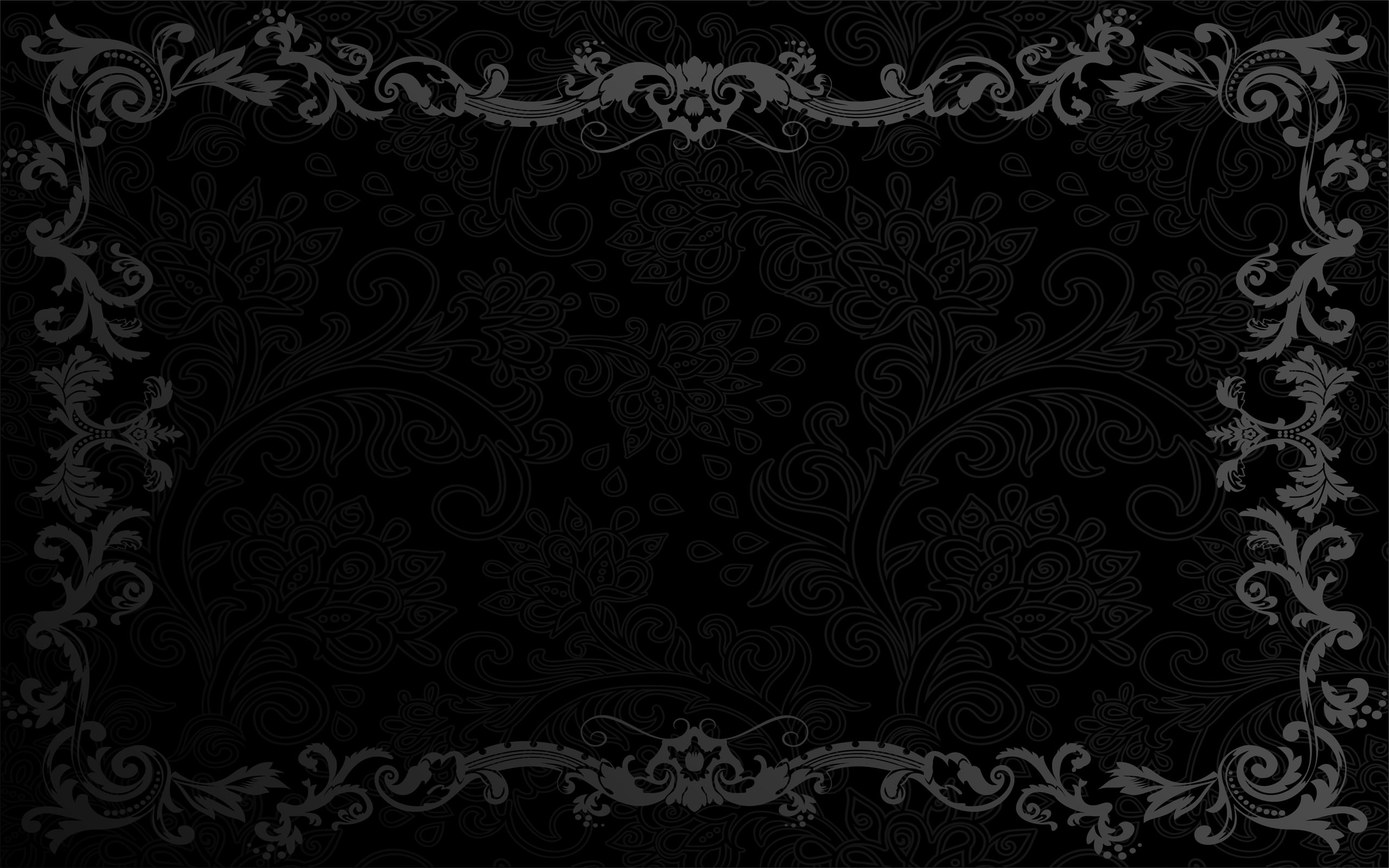 Black Vintage Floral Wallpaper