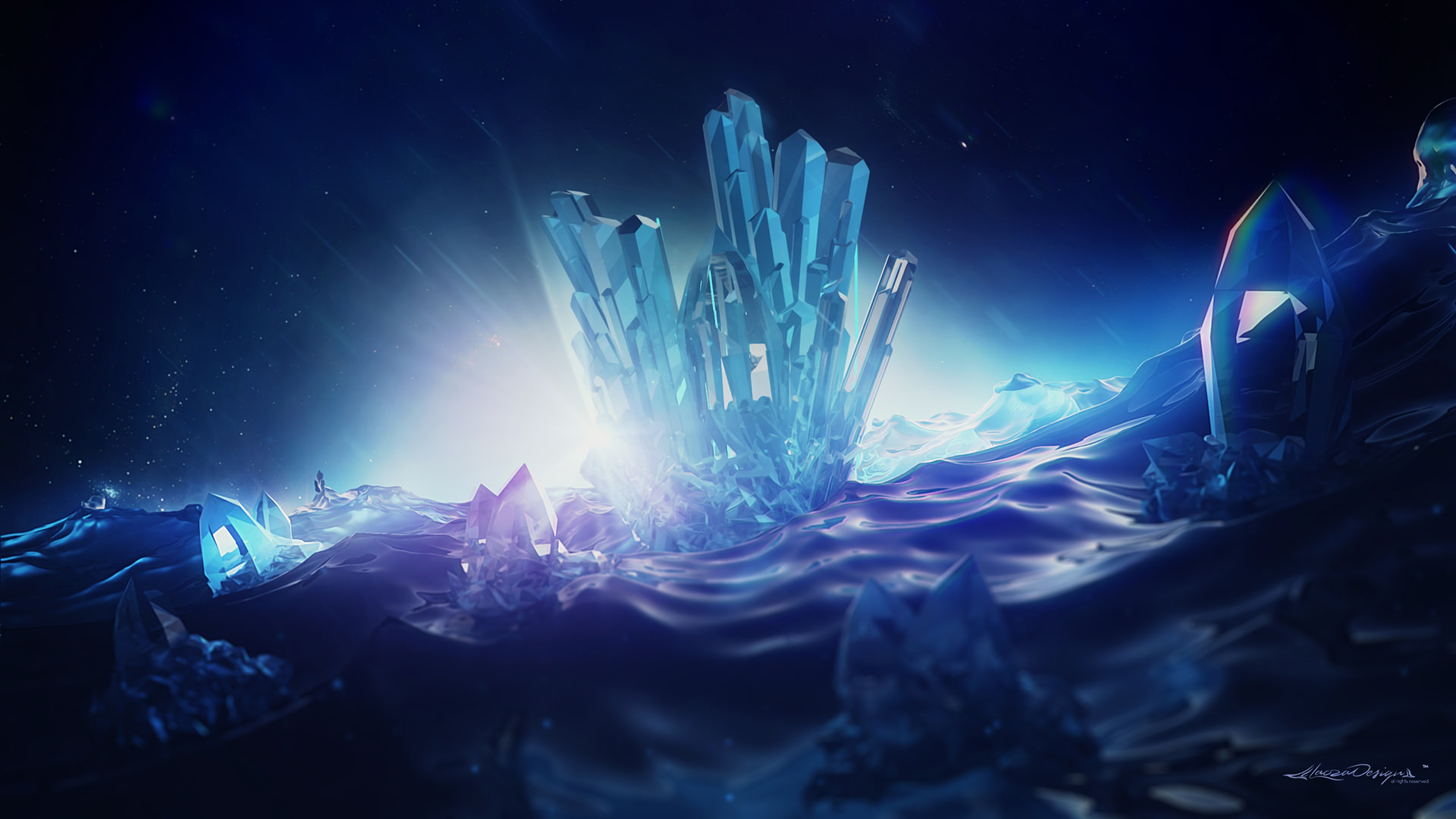 Blue Crystal 3D Digital Background